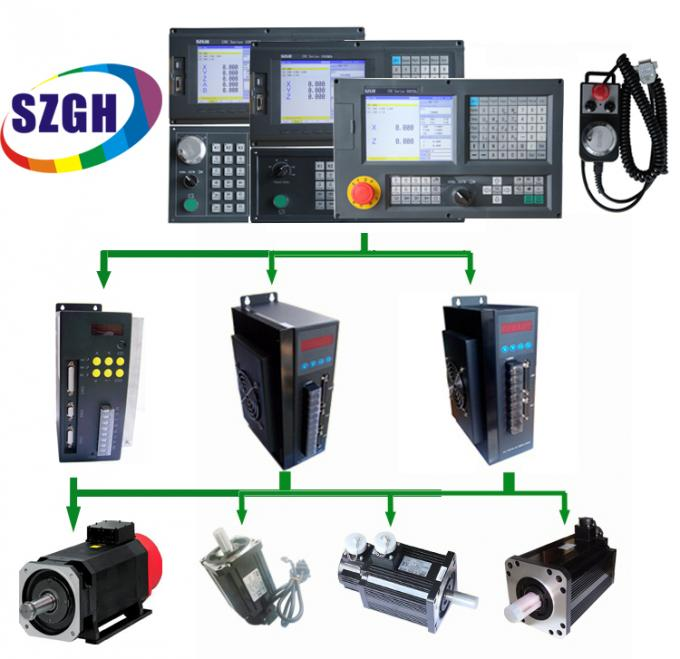Black Vertical CNC Lathe Controller I / O 56 x 32 With Macro Function USB interface